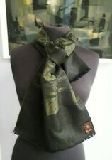 Mans Scarf Black and Olive Green Wool Scarf Vintage Scarf Gift for Him Mods