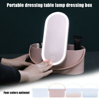 Portable Makeup Case Cosmetic Organizer Storage Box with LED Light Makeup Mirror
