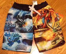 Skylanders Boy's Size 4 New Swim Trunks Swimsuit Dragon Flameslinger Warnado