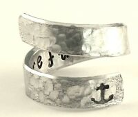 I Refuse to Sink Ring - Anchor - Textured Adjustable Aluminum Wrap Ring