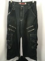 VTG 90s MENACE JEANS Men's Sz 32 Wide Leg Baggy Punk Gothic Zippers Black Tripp