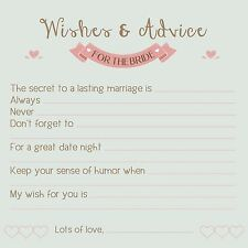 Advice Cards for The BRIDE! Wedding & Bridal Shower Games 25 Well Wishes! HEARTS