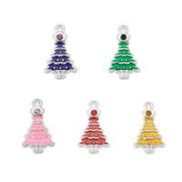 100pcs Alloy Enamel Pendants Rhinestones Christmas Tree Mixed Color Silver Charm