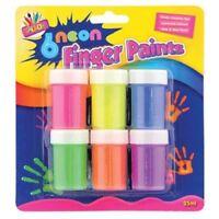 6 Neon Finger Paint Pots Non Toxic Painting Children Child Kids Craft Poster Art
