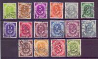 Bund 1951 - Posthorn - MiNr. 123/138 rund gestempelt - Michel 50,00 € (616)