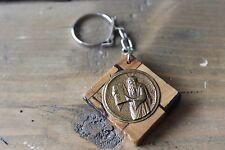 Vintage Wood Religious Key Chain