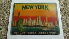 New York Worlds Finest Needle Book Nickel Plated Rust Proof Advertising Tourism