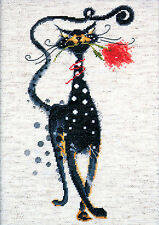 Cross Stitch Kit ~ Design Works Jasper the Cat with Red Rose #DW2420