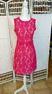 Darling Lois Women Raspberry Sorbet Pink Lace Occasion Wedding Party Dress UK 10
