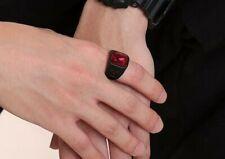 Men's Fashion Jewelry Deep Black Red Cubic Zircon Gem Ring 67-4