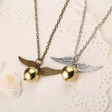 New Golden Coppery Snitch Necklace, Harry Potter jewelry,  Angel Wings Pendant
