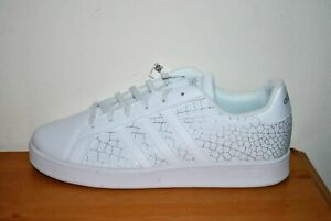 adidas Kids' Grand Court K White & Silver Leather Sneakers - Size 5.5 Youth