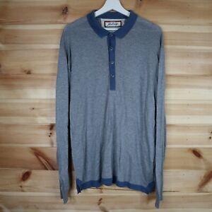 John Smedley Sea Island Cotton Polo Shirt Grey Blue Long Sleeve XL
