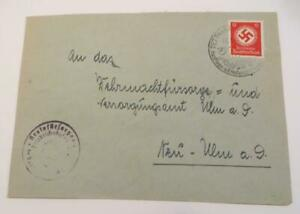 Germany 1943 Official Swastika 12pf used on envelope from Tettnang