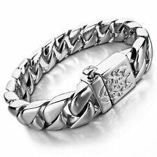 MENDINO Heavy Men's Silver Curb Chain Polished Bangle Stainless Steel Bracelet