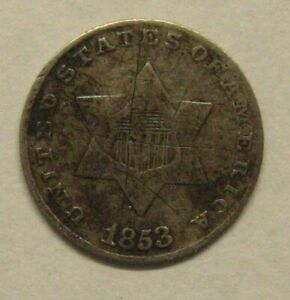 1853 Three Cent Silver Piece Damaged Take a Look