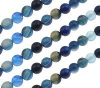 Edelstein Blau Achat Perlen Kugel Blau 6mm Natürliche Streifen Naturstein G77