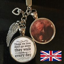 Personalised Photo Keyring - Memorial Bereavement Angel Wings Love Memory Gift