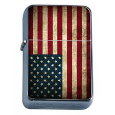 Windproof Refillable Oil Lighter Vintage American Flag D1 Patriotic Stars Honor