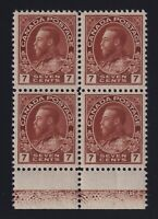 Canada Sc #114 (1924) 7c red brown Admiral LATHEWORK Block Mint VF NH