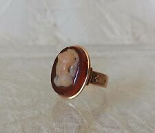 Antique Victorian 14k Rose Gold Agate Knight Cameo Ring Sz 4.5
