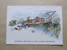 Enjoying The Peace of The Inland Waterways, Humorous Postcard 1989