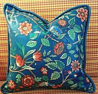 Vintage PIllow Covers BLUE Floral Birds Motif - English Country Chintz - A PAIR
