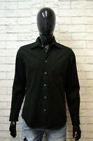 REPLAY Camicia Nera Uomo Taglia M Maglia Manica Lunga Polo Hemd Shirt Man Black