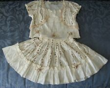Toddler Girls Outfit FRILLY RUFFLE SKIRT SS Top Ivory Rose Crochet 12 18 MO 2T