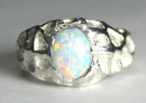 CREATED WHITE OPAL Sterling Silver Men's Ring, Handmade • SR168