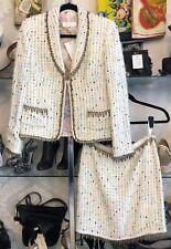 ESCADA Multi Color Tweed Skirt Suit Sz 38/40 $2100+