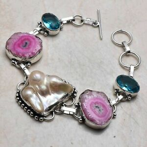 Biwa Pearl Blue Topaz Ethnic Handmade Bracelet Jewelry 26 Gms AB 95604