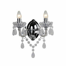 MARIE THERESE 2 LIGHTS Clear & CHROME WALL BRACKET CHANDELIER LIGHT