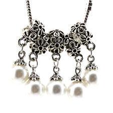 5pcs Tibetan silver pearl pendant spacer beads fit Charm European Bracelet Bf025