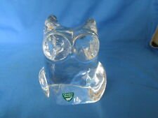 Orrefors Crystal Glass Owl Figurine Paperweight Sweden With Sticker Label