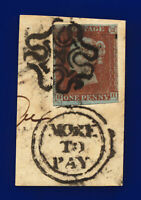 "1841 SG8m 1d Red-Brown ""4"" in Maltese Cross B1ud HH Good Used Cat £500 ctpw"
