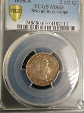 Schaumburg Lippe PCGS MS 63 1858 1/12 Thaler = 2.5 Groschen Silver Coin Colorful