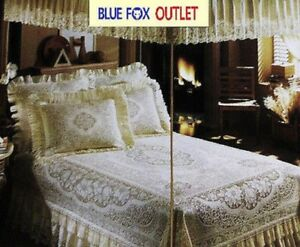 Lace Canopy Twin Ivory Victorian Rose Cotton Blend Bedroom Vintage Style