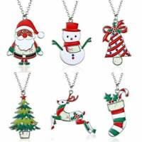 Merry Christmas Tree Santa Claus Snowman Pendant Necklace Jewelry 925 Silver