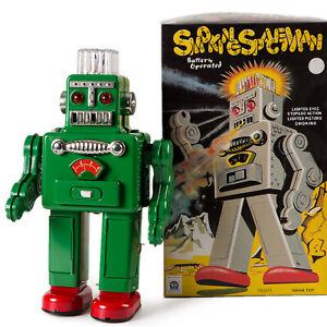 Vintage Smoking Robot Tin Toy Japanese Replica Green Retro Collectable Clockwork