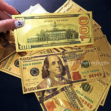 10PCS 24K Gold Foil Dollars New $100 Banknotes Collections Home Decor Arts Gift