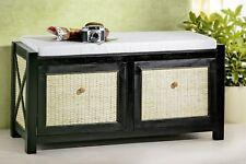 Banc en rotin style antique banc avec tiroirs noires BANC rotin et coussin