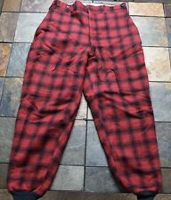 Vintage Woolrich Red Plaid Wool Insulated Hunting Pants 36x29