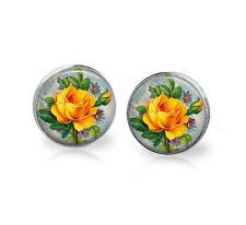 Yellow Rose earrings, shabby rose flower earrings, stud earrings, post earrings