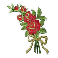 Red & Gold Flower Spray Iron On Applique x 1 piece