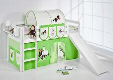 Juego de cama alta JELLE 190x90 blanco con Tobogán lilokids Caballos Verde