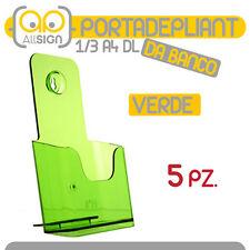 5X PORTADEPLIANT 1/3 A4 DL VERDE DA BANCO agenzia immobiliare info volantini bar
