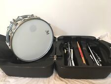 """Pearl Chrome 14"""" Snare Drum and Stand with Black Molded Case And Practice Pad"""