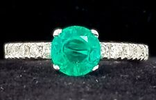 14K white GOLD engagement RING 1.37CT. GEM round GREEN EMERALD