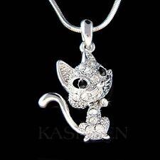 w Swarovski Crystal Dainty Kitty Cat Kitten movable Charm Chain Necklace Jewelry
